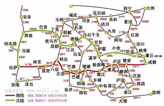 318国道全程线路图-自驾进入中国西藏旅游,四条经典路线推荐